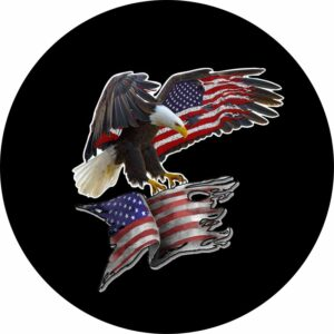 eagle on tattered flag tire cover