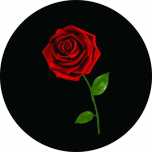 A Red Rose Tire Cover
