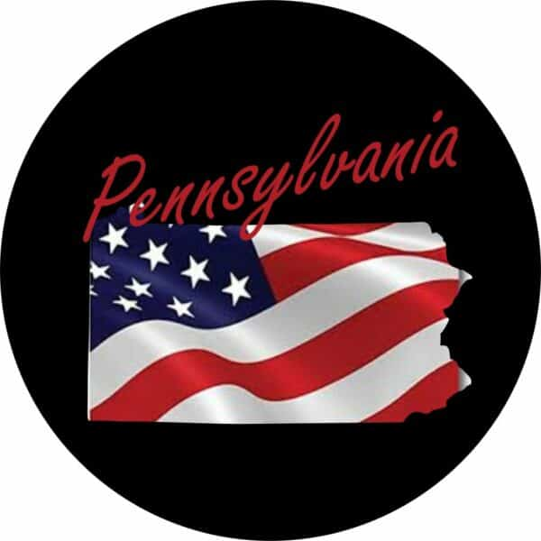Pennsylvania State with Flag ~ Tire Cover